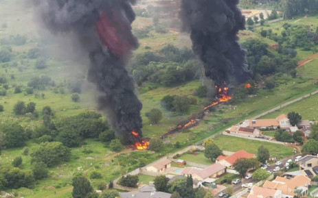 An aerial view of the fuel jet pipeline fire in Alberton on 31 December 2019.