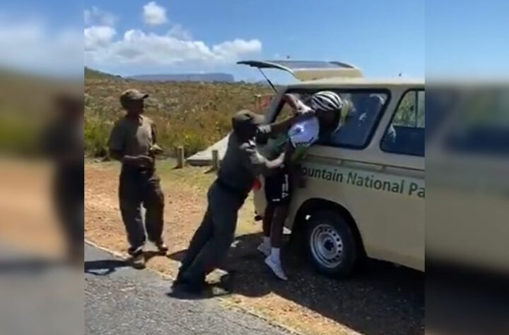 A screenshot from the video on social media showing Dlamini's arrest.